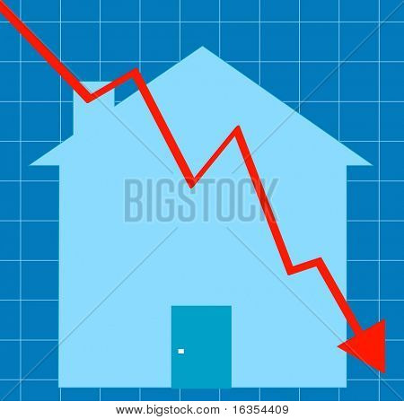 blue graph with house - crashing housing market - vector