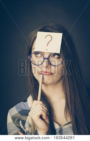 Woman Thinking Question Mark On Her Head