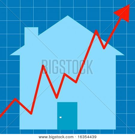 blue graph with house - unstable housing market - vector