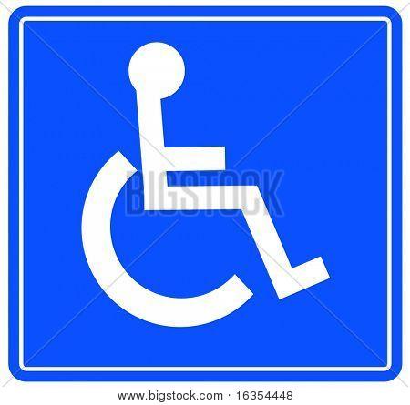 azul muestra accesible del aparcamiento o silla de ruedas del handicap - vector