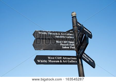 Signpost for places to go in Whitby Yorkshire