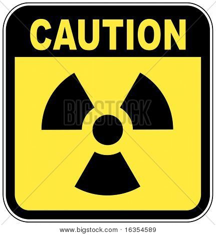 radio active logo on yellow caution sign - vector