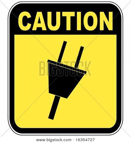 yellow caution sign warning of power surge or electrocution