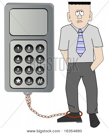 business man chained to his cell phone - unable to leave work -