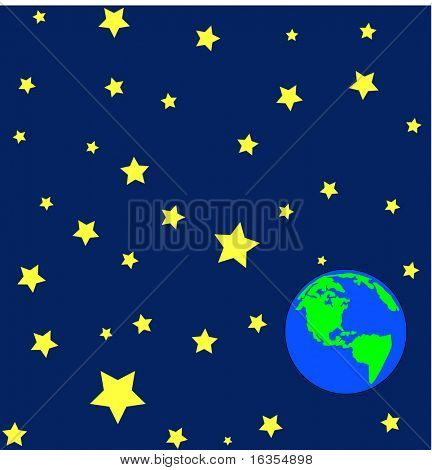 cartoon of earth in outerspace or orbit with stars