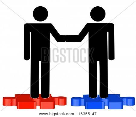 two business men shaking hands on blue and red puzzle pieces