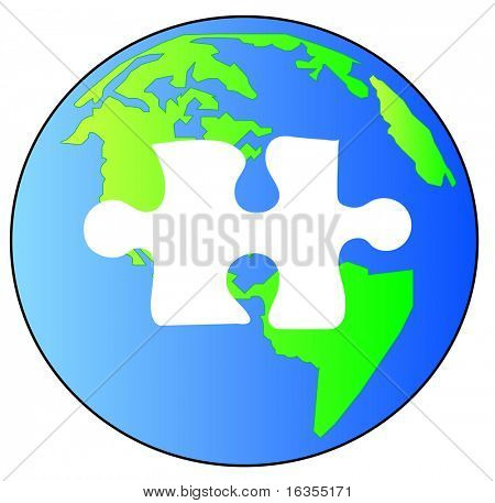 green and blue earth with piece of the puzzle missing