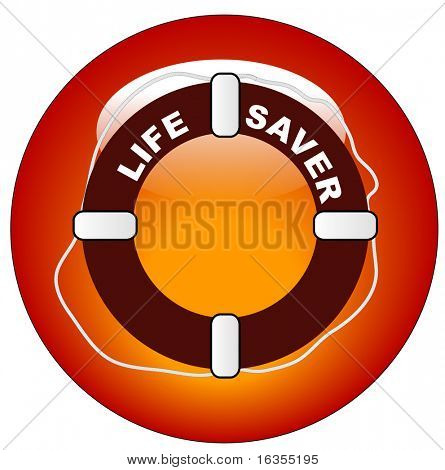 red icon or button for  life preserver with words life saver