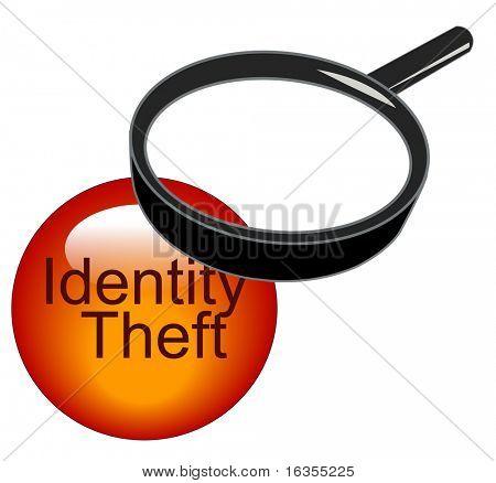 lupa encima del botón de robo de identidad