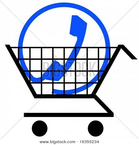shopping cart with phone connection symbol