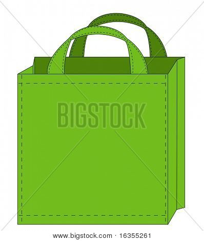 illustration of a green reusable shopping bag