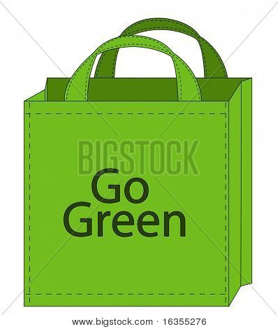 illustration of a reusable shopping bag encouraging green shopping