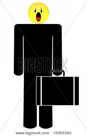 business man with angry or frustrated smiley face head