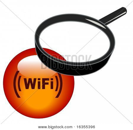 magnifying glass over top of wifi button