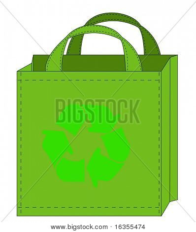 illustration of a reusable shopping bag with recycle symbol