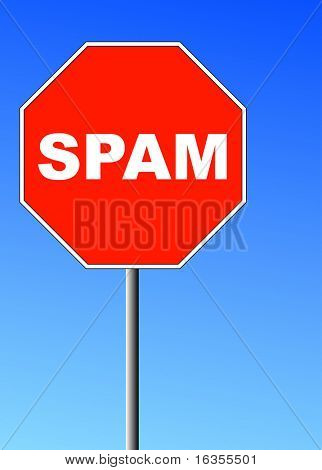 red stop sign shape with the word spam on it against blue sky