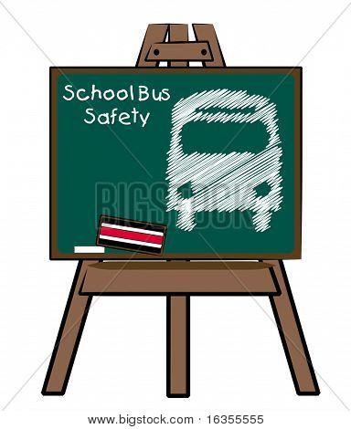 school bus safety and bus on chalkboard and easel
