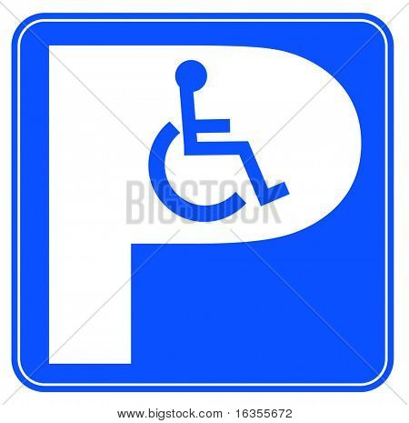 blue handicap parking or wheelchair parking space sign