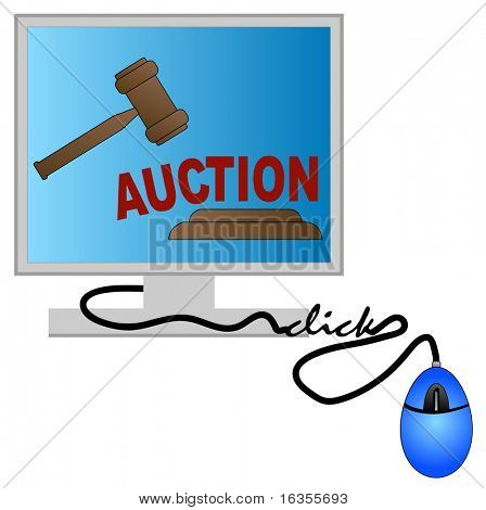 computer monitor with gavel - concept of online auction