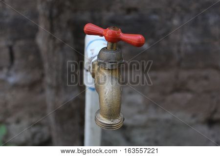 Metal Water Tap to garden, red and bronze