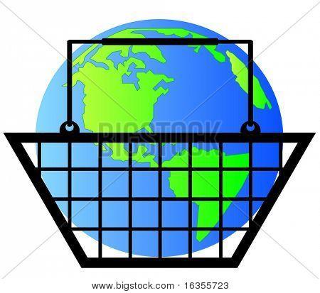 earth or globe inside shopping basket - world commerce- vector