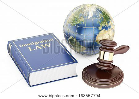 Immigration Law concept with gavel and globe. 3D rendering isolated on white background