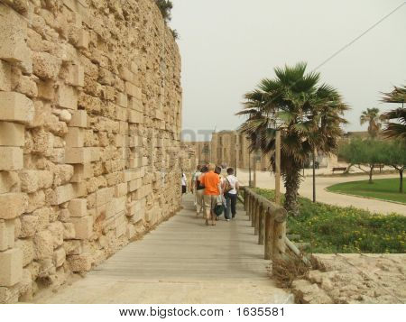Tourists Leaving An Ancient/Historical Area In Caesarea