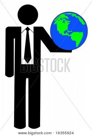 business man or figure holding up globe
