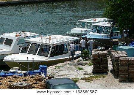 n-us-fl  Miami, Florida - 2008-05-05:  Miami River Area - Fishing Boats of a Shellfish Fishery