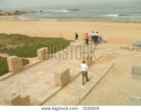 Tourists Leaving Historical Place/ Going  To The Beach