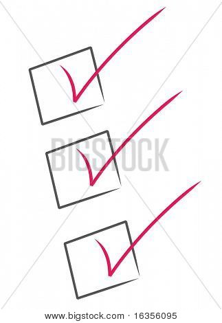 red check marks inside black boxes - check list
