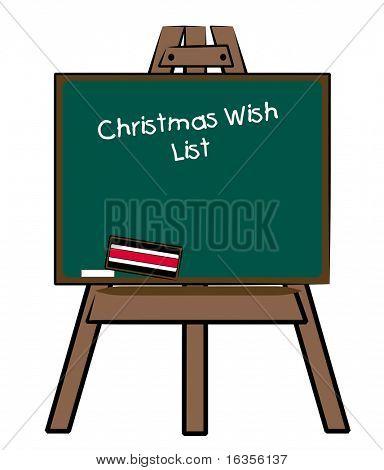 christmas wish list written on chalkboard easel