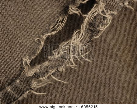 macro of frayed pant leg on black jeans
