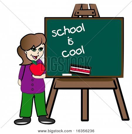 student standing at chalkboard promoting school is cool