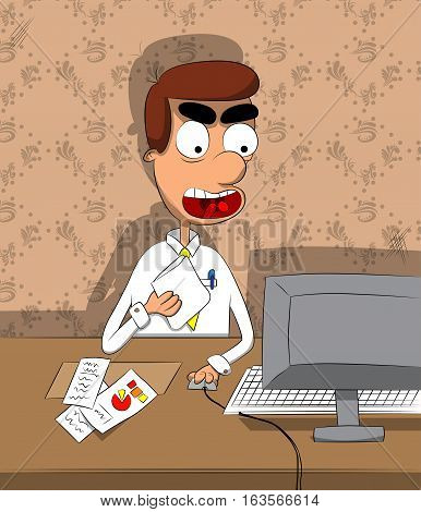 Cartoon young depressed businessman in his office looking down to his pc monitor.
