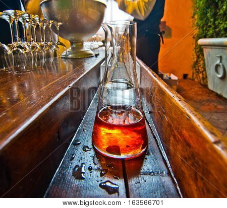 Bar Table With Bottle Of Alcoholic Liquor