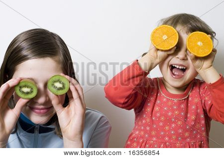 Playing with fruits, healthy nutrition
