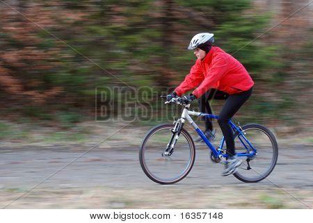 Autumn bike riding, intentional motion blur