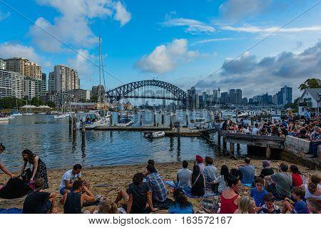 Sydney Harbour Bridge Sydney Australia at sunsetJAN 01,2017 The Sydney Harbour Bridge is a steel through arch bridge across Sydney Harbour to the North Shore.