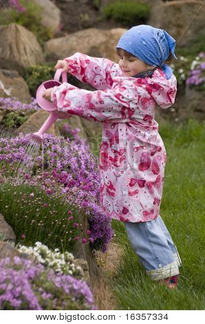 Little girl in the garden