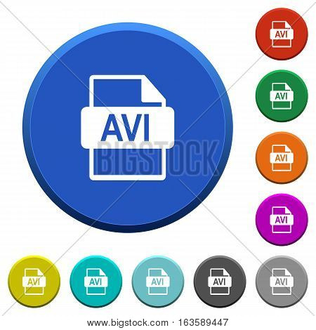 AVI file format round color beveled buttons with smooth surfaces and flat white icons