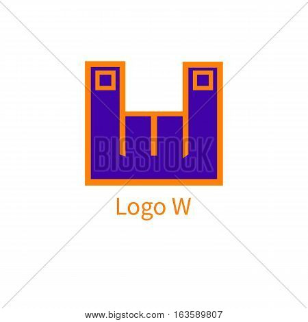 Flat icon sign heavy metal. Two fingers raised up. Logo of the letter W. Vector illustration.