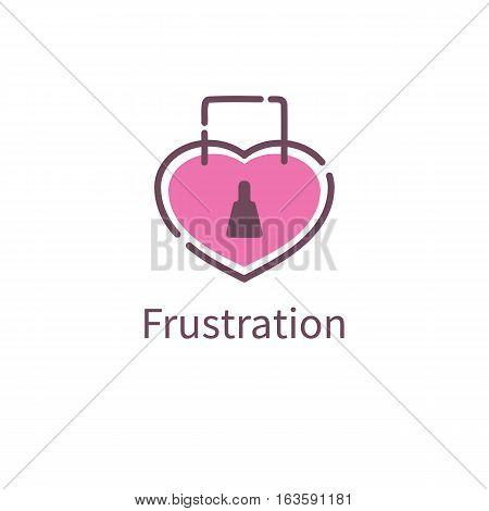 Icon love frustration. Heart lock. Vector illustration