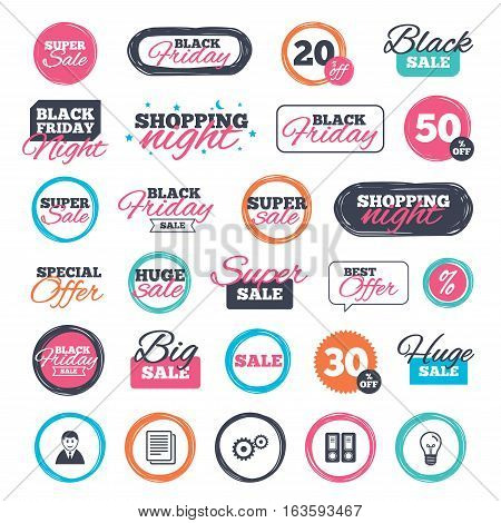 Sale shopping stickers and banners. Accounting workflow icons. Human silhouette, cogwheel gear and documents folders signs symbols. Website badges. Black friday. Vector
