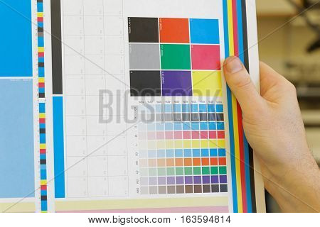 Hand holding a colorful test print for inspection in the print shop
