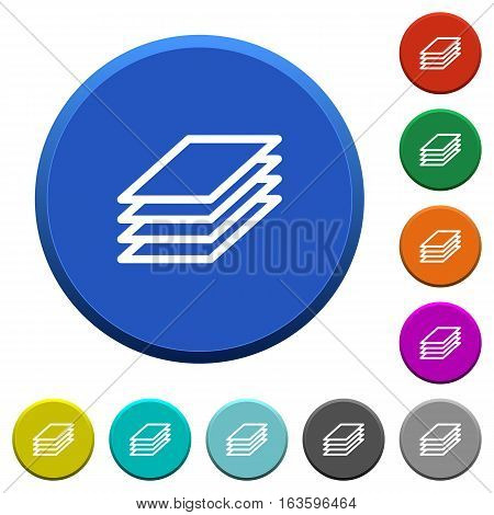 Printing papers round color beveled buttons with smooth surfaces and flat white icons