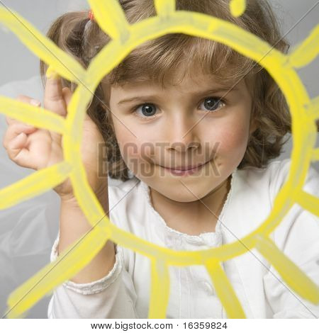 Sol de Linda chica pintura sobre vidrio