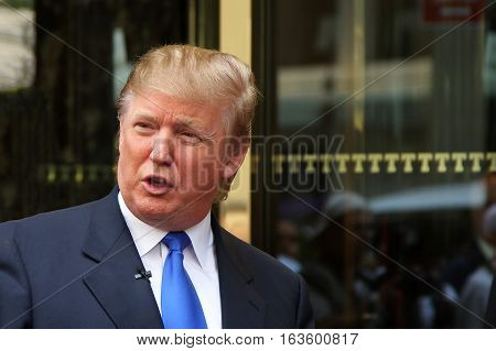 New York NY USA - Aug 3 2008: Donald Trump recording on 5th Avenue in front of Trump Tower in New York City.