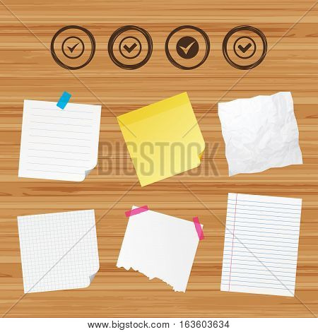 Business paper banners with notes. Check icons. Checkbox confirm circle sign symbols. Sticky colorful tape. Vector