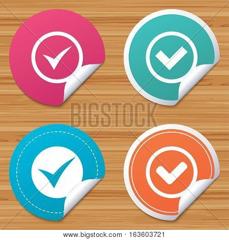 Round stickers or website banners. Check icons. Checkbox confirm circle sign symbols. Circle badges with bended corner. Vector
